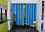 COTTON CURTAIN IN SHADES OF TURQUOISE BL...