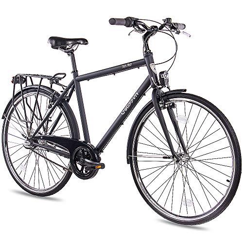 CHRISSON 28 Zoll Citybike Herren - City One schwarz 53 cm - Herrenfahrrad mit 3 Gang Shimano Nexus Nabenschaltung - praktisches Cityfahrrad für Männer