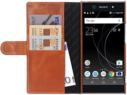 StilGut Talis Schutz-Hülle für Sony Xperia XA1 Ultra mit Kreditkarten-Fächern aus echtem Leder. Seitlich aufklappbares Flip Case in Handarbeit gefertigt für Das Original Sony Xperia XA1 Ultra, Cognac