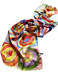 """Prettystern - longue écharpe foulard en soie de l'art de la peinture, Kandinsky """"couleur étude"""" 3 couleurs"""