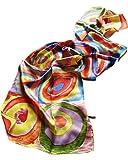 Prettystern - P701 Seidenschal Kunstwerk handgerollt Malerei Kandinsky 'Farbstudie Quadrate'