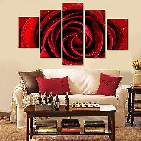 LAPS Reproducción en lienzo de Arte Floral Rosa Roja Juego de 5