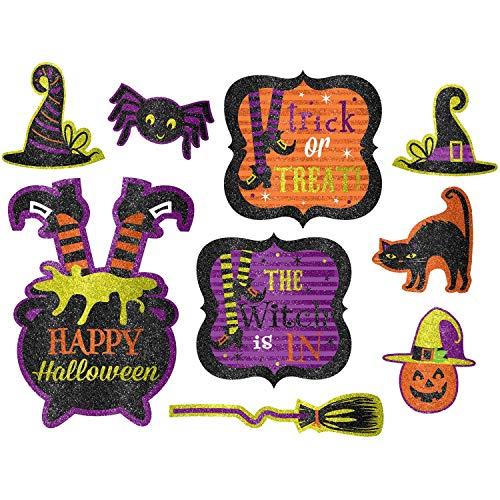 Halloween Hexen Crew Glitzer Ausschnitte Vorteilspackung - 9 Stück Packung