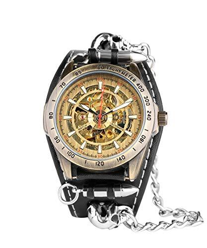 Reloj mecánico automático para Hombre, Punk Esqueleto Calavera Reloj de Cuero Impermeable Auto bobinado Reloj de Pulsera Regalo