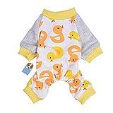 Per Hunde/Katze Pyjamas mit Niedlich Entenmuster und Four Feet Design, Weich Alle Jahreszeiten Haustier Schlafanzug Jacken für Kleine und Mittelgroße Hunde - XS/S/M/L/XL