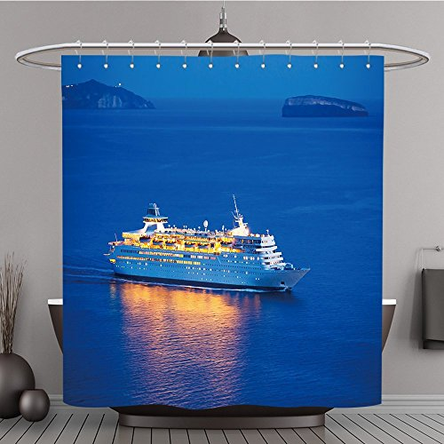 13Luxus Cruise Polyester-Schiff, das bei Sonnenuntergang-Bad Vorhang, 108W By 72L Inch (108 Hoch Duschvorhang)
