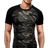 Jaminy Men's Shirt Plus Size Camouflage Blouse Slim Fit Short Sleeve Top (M, Camouflage)