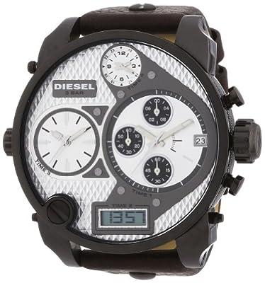 Diesel DZ7126 - Reloj analógico y digital de cuarzo para hombre con correa de piel, color marrón