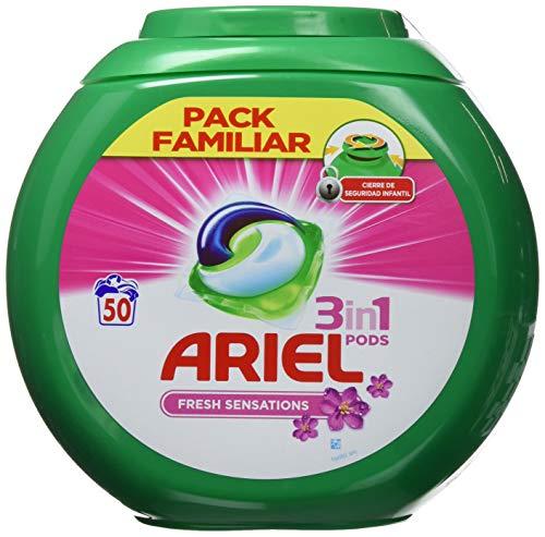Ariel 3en1 Pods - Detergente En Cápsulas, Sensaciones, Limpieza Increíble, Limpia, Quita Manchas, Ilumina - 50Lavados