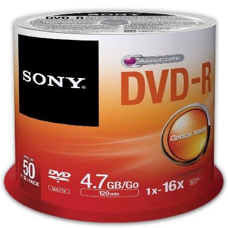 50 dvd-r vergini sony 4,7 gb 120 minuti in campana
