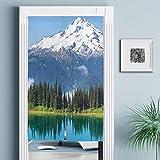 JISMUCI Tende per Porta,Picco del ghiacciaio di Snowy e del Lago nella Foresta di Pino Alta di Washington USA,Decorazione Domestica per Cucina,Soggiorno