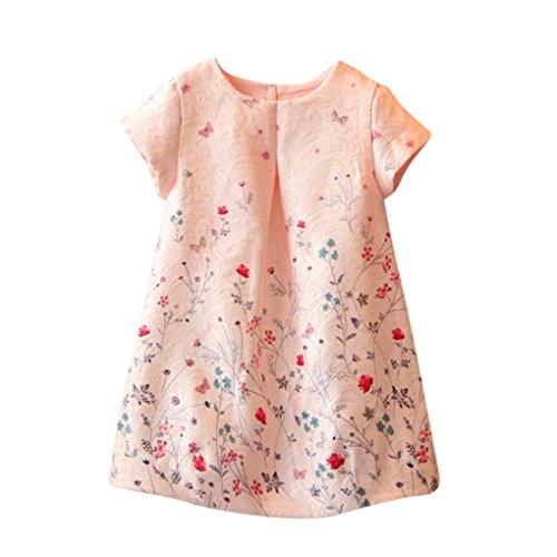 JYJM Girls Flower Printed Cute Dress (6-7 jahre, Rosa)