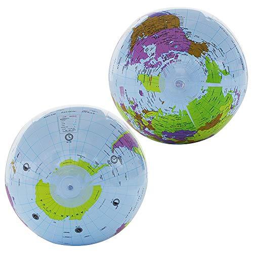 LuLyL - Juego de 4 Globos inflables de 12 Pulgadas, 3 Unidades de Globo terráqueo con 1 Mini Bomba para la educación, la enseñanza y el Juego (Azul Claro)