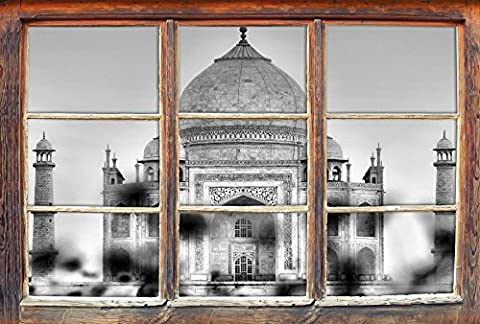 Monocrome, Taj Mahal en étéWindows en 3D regarder, taille sticker mural ou de porte: 92x62cm, stickers muraux, sticker mural, décoration