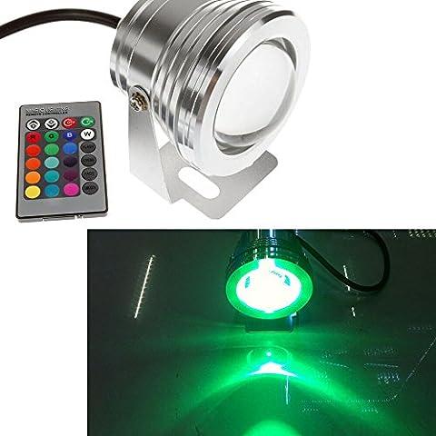 Eaglerich 7 colores RGB 10W 12v acuario LED fuente de luz bajo el agua de la piscina 1000LM tanque estanque de peces LED l¨¢mpara de luz IP68 a prueba de agua