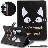 HUDDU Katze Muster Schwarz Schutzhülle für Samsung Galaxy Tab S2 9.7 T810N / T815N / T813N / T819N Tablet Hülle Tasche Leder Smart Case mit Auto Schlaf/Wach Funktion Magnetverschluss Lederhülle