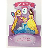 DAUGHTER AGE 4 BIRTHDAY DISNEY PRINCESS STAND UP CARD HALLMARK