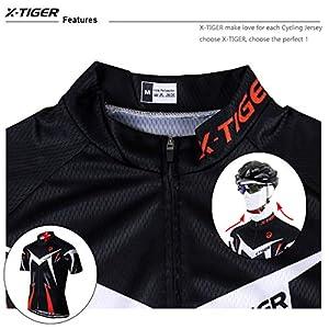 X-TIGER Hombres con Tirantes Manga Corta Ciclismo Maillots Transpirable Secado Rápido con 5D Acolchado Gel Bib Pantalones Cortos (Rojo,L)