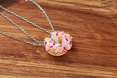 Colliers d'amitié bouillonnant avec des arrosages arc-en-ciel roses - bijoux alimentaires, colliers d'amitié, collier ami, collier amica