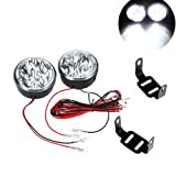 Kkmoon 2pcs Universal 12V White 4 LED Round Daytime Running Light DRL Car Fog Day Driving Lamp