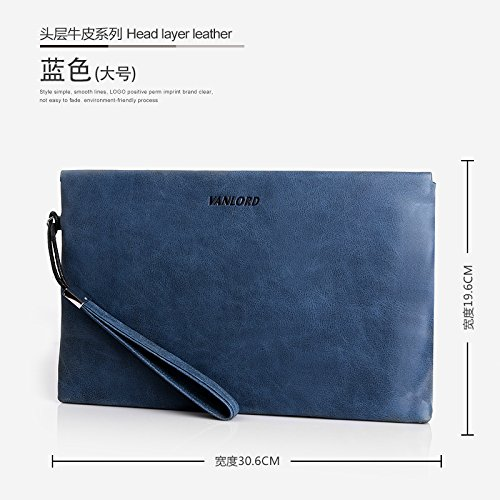 Handtasche, Leder, Tasche die große Kapazität Männer, business casual Umschlag Tasche, groß blau Big blue