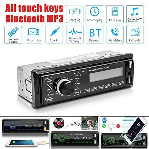 Family Homes Autoradio mit Bluetooth Freisprecheinrichtung und Fernbedienung, Stereo-Autoradio(60 Speicherplätze) Autoradio MP3 Player/FM Radio, 2 USB Anschlüsse für Musikspielen und Aufladen