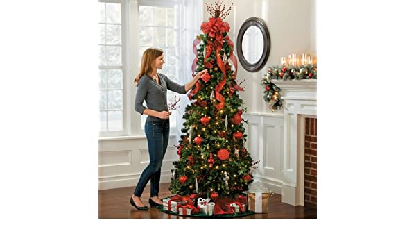 Pre Lit Noble Pine Pull Up Christmas Tree 6 1 2 Collapsible Pop Up