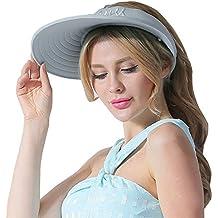 CACUSS Sombrero de Sol de Verano para Mujeres Sombrero de ala Grande Visor  Ajustable de Velcro e25167e73c5