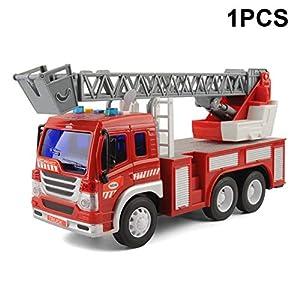 1:24 modelos de camiones de extinción de incendios súper grandes, con escaleras, diseño muy realista.Ayuda a desarrollar las habilidades de reconocimiento del motor del bebé y aprender el movimiento.Grandes juguetes y regalos para los niños, se puede...
