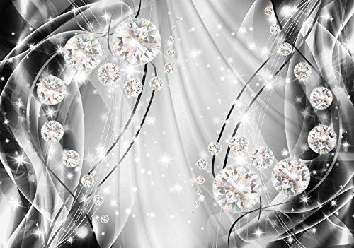Fototapete Tapete Wandbild   WallArena   Abstrakt, Diamanten und Silber   P4 (254cm. x 184cm.)   Photo Wallpaper Mural 10406P4-AW   Abstrakt Kunst Abstraktion Diamant Diamanten