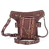 Cestlafit Frauen Männer Leder Steampunk Tasche Vintage Schulter Steampunk Handtasche Gothic Taille Packs Bein Tasche, Antike Bronze, CFB005-4