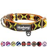 Blueberry Pet 2,5cm L Retro Ethno-Muster Neopren-Gepolstertes Hundehalsband in Extravagant-Orange, Groβe Halsbänder für Hunde