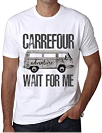One in the City Hombre Camiseta Vintage T-Shirt Gráfico Carrefour Wait For Me Blanco