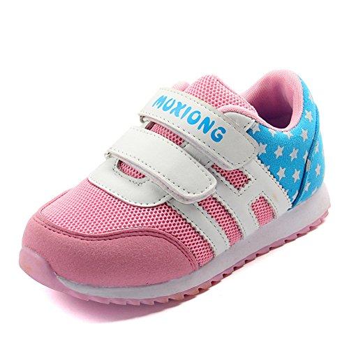 Laufschuhe Turnschuhe Straßenlaufschuhe Sneaker Mesh atmungsaktive Schuhe Boys Girls Jungen Mädchen Sportschuhe Pink-2