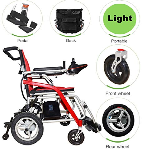 BUDAOWENG Sedia a rotelle elettrica Pieghevole, Sedia a rotelle Medica Professionale di Salute, sedie a rotelle Staccabili, per la Sedia a rotelle anziana, Facile da Usare, Durevole,Red