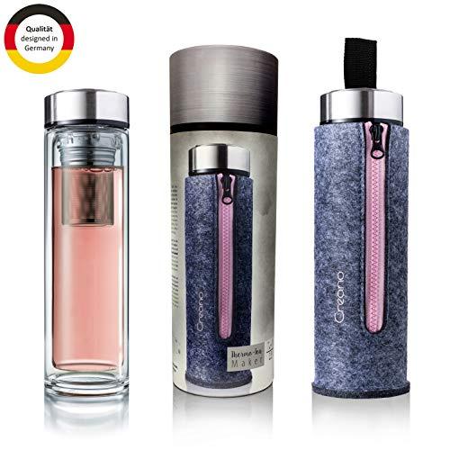 Creano exklusive Teeflasche'Thermo-Teamaker' doppelwandig 400ml mit Edelstahl Tee Sieb & -deckel in edler Filz-Tasche im hochwertigen Geschenkkarton - Rosa