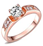 Kaizer Eve Solitaire 18K Rose Gold Plate...