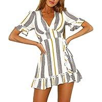 Vestido de fiesta mujer, Amlaiworld Mini vestido de cintura alta estampado a ray sexy mujer baratos Boho Cuello en V profundo Vestido de playa Vestido de noche elegantes