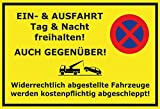 Ein und Ausfahrt freihalten! Gelbe Warnschild schild aus blech, metal sign, tin sign