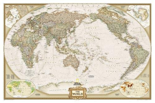 World Executive, Pacific Centered, Enlarged & Tubed: Wall Maps World (National Geographic Reference Map)