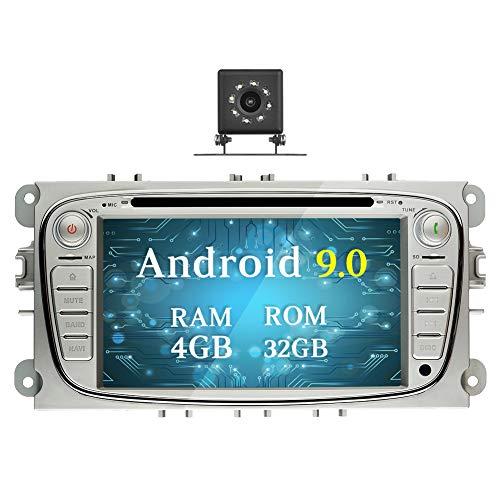 Ohok 7 Zoll Bildschirm 2 Din Autoradio Android 9.0 Pie Octa Core 4G+32G Radio mit Navi Moniceiver DVD GPS Navigation Unterstützt Bluetooth WLAN DAB+ für Ford Focus Silber mit Klein-Rückfahrkamera