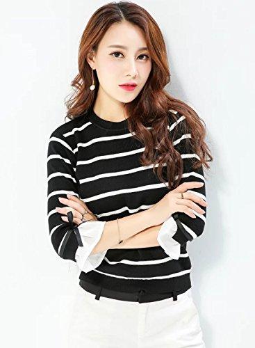 Futurino Femme Col Rond Striped 3/4 Manche Tricot Crop Pull Sweater Black
