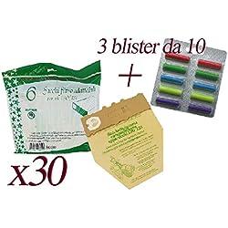 Sacs en papier naturel + Blister de parfums multifragrances pour aspirateur balai Vorwerk VK130 et VK131 30 Sacchetti + 30 Profumini