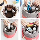 #6: ShoppoWorld Bucket Barrel Shaped Cosmetic Makeup Bag Travel Case Pouch