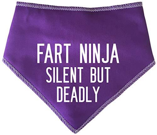 Spoilt Rotten Pets Fart Ninja - Silent But Deadly Purple Dog Bandana - Hundekostüm für Hunde, die ruhig furzt, Trump & Blow - Hunde Kostüm Für Staffies