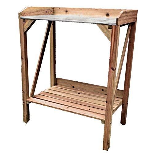VARILANDO® Pflanztisch aus Echtholz mit Arbeitsfläche aus Metall Anzucht-Tisch Anzucht-Hilfe Aussaat