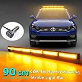 Led-zwaailicht, 90 cm, 60 W, geel, voor auto, aanhanger, caravan, SUV, 14 knipperende stroboscoopmodi