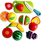 #4: ArtToys Realistic Sliceable Fruits Or Vegetables Cutting Play Kitchen Set Toy (7 pcs Set) with Various Fruits Or Vegetables,Knife,Plate and Cutting Board for Kids,Random Set