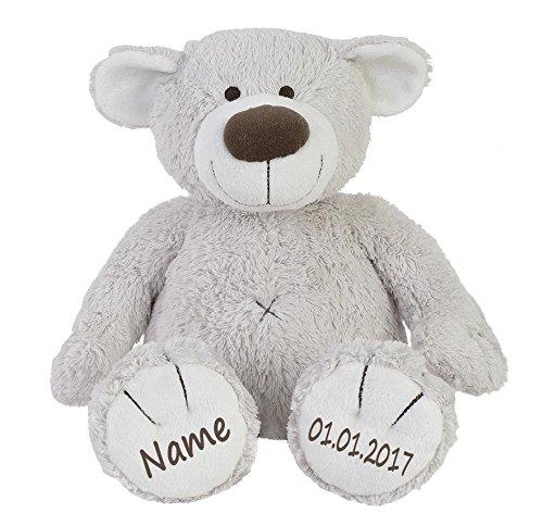 Stofftier Teddy Bär zartgrau Geschenk mit Namen und Geburtsdatum personalisiert 30cm