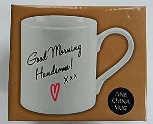 good morning Handsome superbe Paire de porcelaine thé tasses à café Blanc